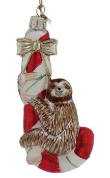 Sloth Hugging Candy Cane Glass Ornament