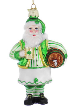Irish Pub Santa Glass Ornament