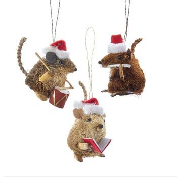 "Buri Bristle Musician or Caroling Mouse Ornament, 3"", KAS0744"