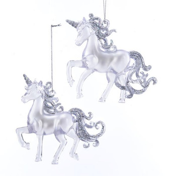 """Clear with Silver Unicorn Ornament - acrylic, 4"""", KAT2523"""