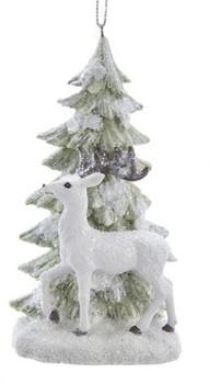"""Winter Wonderland Deer with Tree Ornament, 4 1/2'"""", KAE0285-d"""
