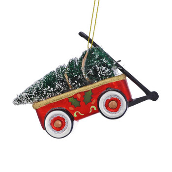 Toy Wagon with Tree Glass Ornament