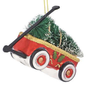 Toy Wagon with Tree Glass Ornament left side front