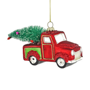 Old Red and Green Pickup Truck Glass Ornament right side front
