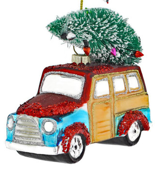 Woody Wagon with Tree Glass Ornament front left side