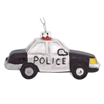 Black and White Police Car Glass Ornament