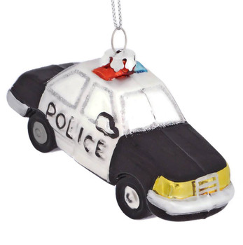 Black and White Police Car Glass Ornament  side front