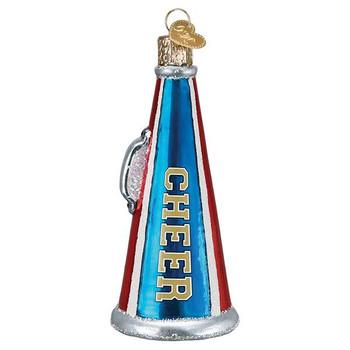 Cheer Megaphone Glass Ornament