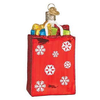 Holiday Gift or Shopping Bag Glass Ornament 32396