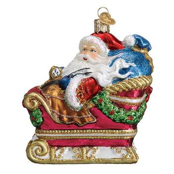 Santa In Sleigh Ornament Glass Ornament