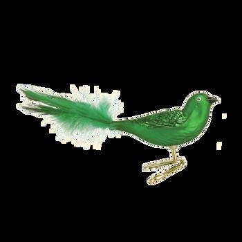 Brilliant Songbird Glass Ornament green