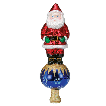 Santa Tree Top Glass Ornamet