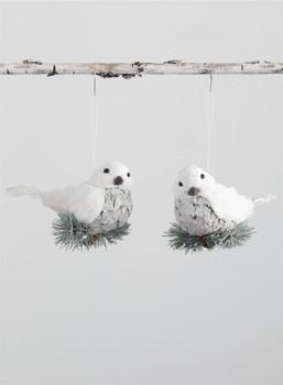 "White Snowbird on Branch Ornament, 5 1/2 - 6"", SUOR8932"