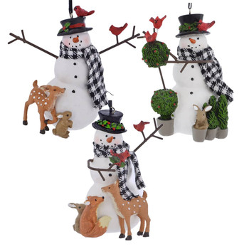 Forrest Animals with Snowman Ornament