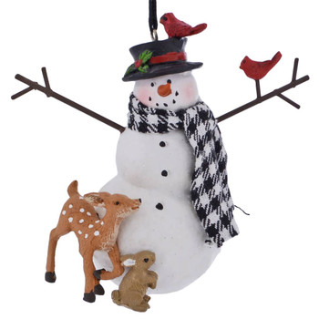 Forrest Animals with Snowman Ornament deer no fox front