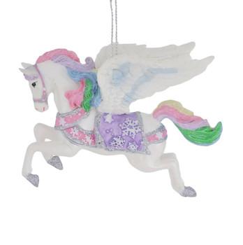 Pastel Fantasy White Pegasus Ornament left side