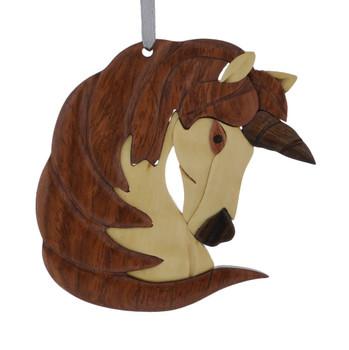 Unicorn Intarsia Wood Ornament