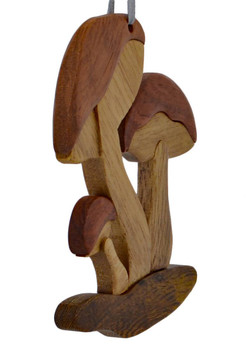 Woodland Mushrooms Intarsia Wood Ornament right side front