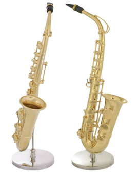 Mini Gold Plated Saxophone Gift 3 pc Set Decor - Display Stand, Case in 1