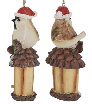 Holiday Bird on Birdhouse Ornament cap oval