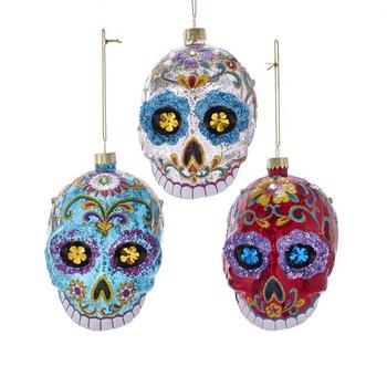 "Top Teeth Sugar Skull Glass Ornament, 5"", KANB1484"