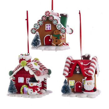 """Candy Shop LED Gingerbread House Ornament, 3 - 3 1/2"""", KAD3619"""