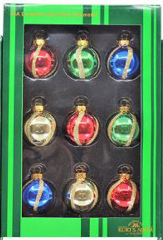 """Mini - Small Decorated Vertical Curves Glass Ornaments 9 pc Set,1 1/2"""", KAGG0320-vertical"""
