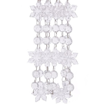 Clear Snowflakes and Beads Christmas Tree Garland, 6 1/4 foot, KAH0280