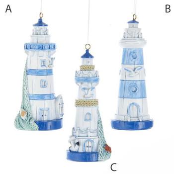 """Blue and White Lighthouse Ornament, 4 1/8"""", KAJ7386 resin"""