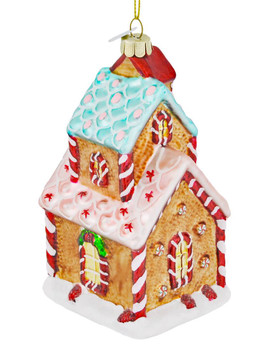 Delicious Gingerbread House Glass Ornament front right side