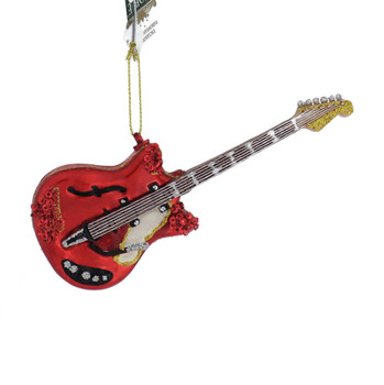 Red Electric Guitar Glass Ornament