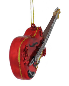 Red Electric Guitar Glass Ornament front side