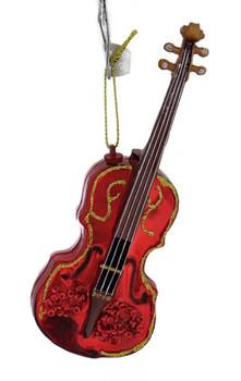 Sparkling Violin Glass Ornament