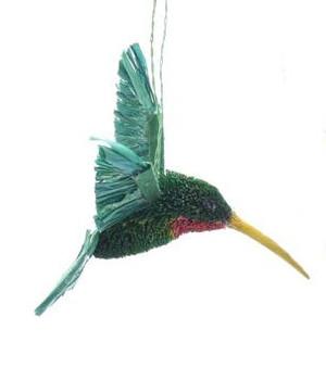 Hummingbird Glass Ornament Hand Made Holiday Home Decor C
