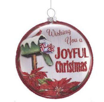 "Red Silver Disk Wishing You a Joyful Christmas Glass Ornament, 4 1/8"", KATD1609"