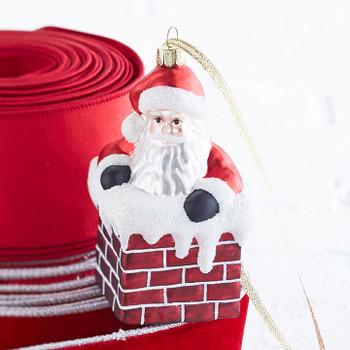"""Santa in Red Brick Chimney Glass Ornament, 4 7/8"""", RA3852993"""