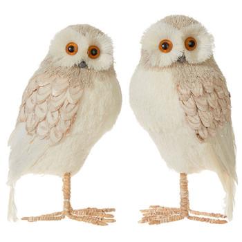 "Woodland Sparkle Tan Owl Figurine, 10"" Large, RA3903441"