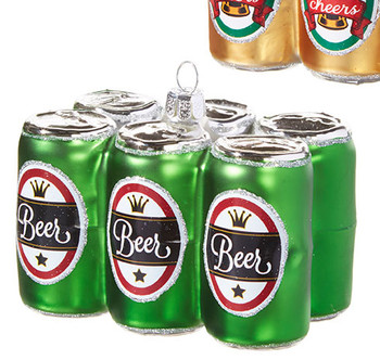 """Six Pack of Beer Cans Glass Ornament, 2 1/2 x 3 3/87"""", RA3952920-green"""