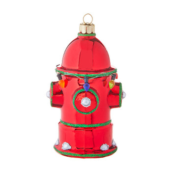 """Shiny Red Fire Hydrant Glass Ornament, 4 1/2"""", RA3952941"""