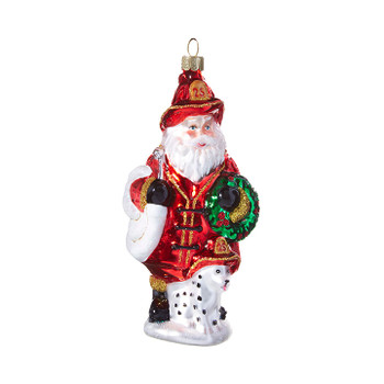 """Dalmatian with Fire Fighter Glass Ornament, 5 1/4"""", RA3952942"""