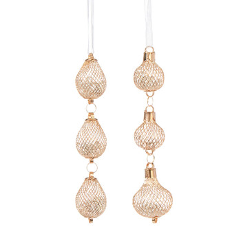"""3 Tier Filled Gold Plated Mesh Ornaments Drops, 6 3/4 - 7"""", RA3960907"""