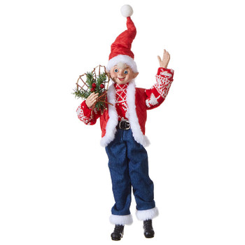 """Large Sweater and Jeans Posable Elf Doll Ornament or Shelf Sitter - Figurine, 16 - 20 1/2"""", RA3902258"""