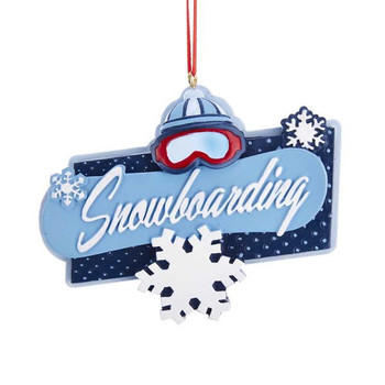 "Snowboarding Sign Ornament, 3 x 3 7/8"", KAA1913"