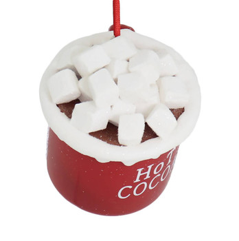 Hot Cocoa with Marshmallows Metal Mug Ornament top