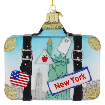 USA Travel New York Suitcase Glass Ornament
