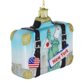 USA Travel New York Suitcase Glass Ornament font side