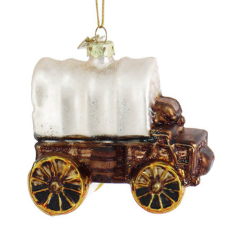 Old West Covered Wagon Glass Ornament