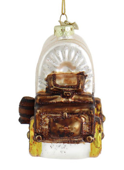 Old West Covered Wagon Glass Ornament back