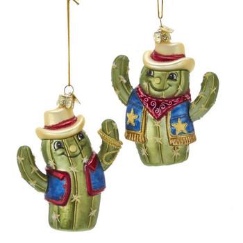 "Smiling Cowboy Cactus Glass Ornament,4 3/8"", KANB1440"