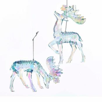 "Clear Blue Iridescent Moose Ornament, 4 7/8 - 5 1/4"", KAT2095B"